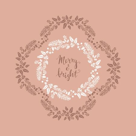Happy Merry Christmas lettering. Template  Christmas  card with   flowers wreath, frames. Festive christmas  background.  Unique  handrawn  winter design for creeting cards, invitation.  Vector illustration. Illustration