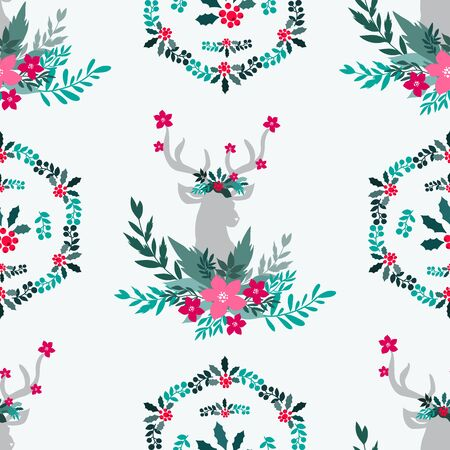 Merry Christmas  winter floral  holiday art background. Hand drawn Christmas  seamless pattern  with reindeer and  winter flowers.  Unique hand drawn winter design. Vector illustration. Illustration