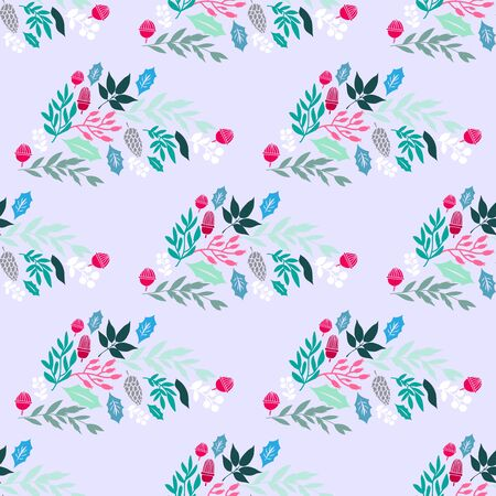 Merry Christmas  winter floral  holiday art background. Hand drawn Christmas  seamless pattern  with   poinsettia  and flowers.  Unique hand drawn winter floral  design. Vector illustration. Ilustracja