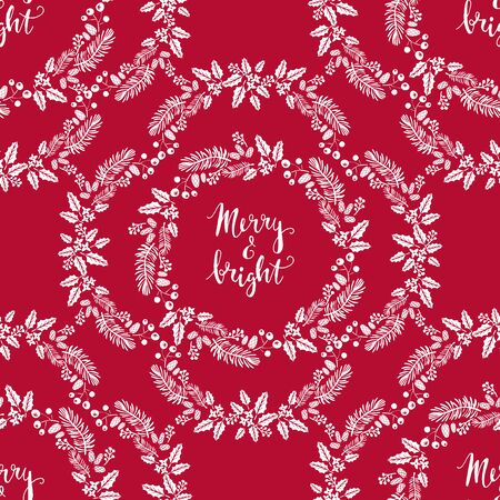 Merry Christmas winter floral holiday art background. Hand drawn Christmas seamless pattern with poinsettia and flowers. Unique hand drawn winter floral design.