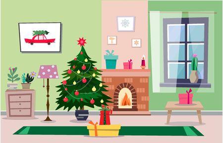 Weihnachtsinterieur im flachen Cartoon-Stil. Wohnmöbel Regale und Kamin, Schubladen Bücherregal, Sofa, Sessel, Weihnachtsbaum, Lampe, Geschenkboxen.