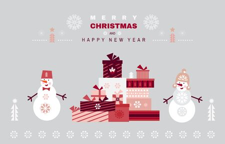 Merry Christmas posters. Snowman, gift boxes. Merry Christmas and Happy New year. Unique cartoon winter design for web banner, invitation, greeting cards in flat style. Xmas.