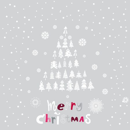 Merry Christmas and Happy New year. Cute  set of different  christmas trees. Winter design. for web banner, invitation,  greeting cards  in  flat style.