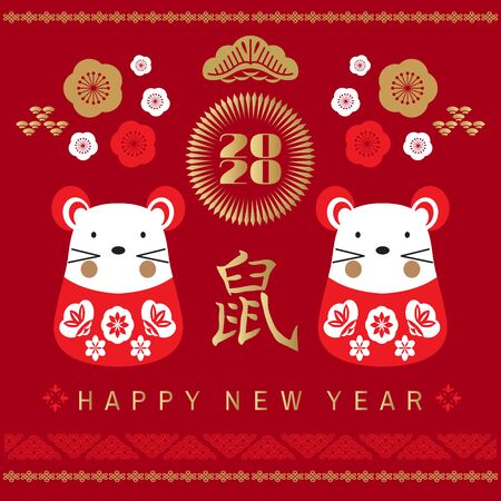 Happy chinese new 2020  year, year of the  metal rat. Chinese  characters translation: Happy New Year. Template banner, poster in oriental style. Japanese, chinese elements.  Vector illustration.