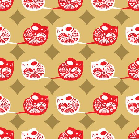 Chinese new year seamless pattern with rats- simbol 2020 year.  Vector illustration.