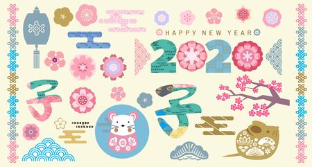 Happy chinese new year, year of the rat. For template banner, poster in oriental style. Big set of japanese, chinese elements. Cloud, rat, pagoda,  wave, moon, bamboo tree, sakura, and mountain. Vector icon flat  illustration.