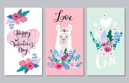 Happy Valentines Day set cards.Handdrawn romantic lettering. Holiday  design, greeting cards, love  concept, gift card, wedding invitation. Valentines Day  background. Vector illustration.