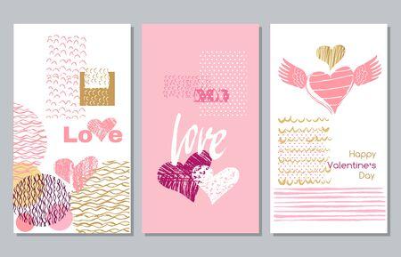 Happy Valentines Day set cards. Handdrawn romantic lettering. Holiday  design, greeting cards, love  concept, gift card, wedding invitation. Valentines Day  background. Vector illustration. Ilustração