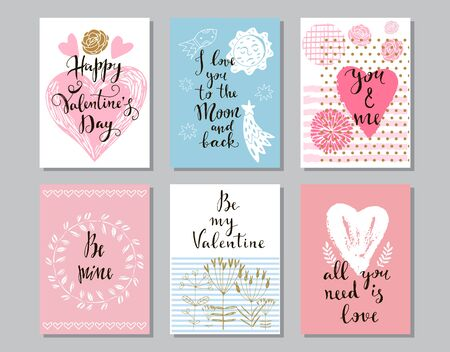 Happy Valentines Day set cards. Handdrawn romantic lettering. Holiday  design, greeting cards, love  concept, gift card, wedding invitation. Valentines Day  background. Vector illustration. Ilustracja