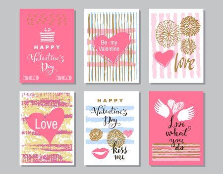 Szczęśliwych walentynek zestaw kart. Handdrawn romantyczny napis. Projekt wakacje, kartki okolicznościowe, koncepcja miłości, karta podarunkowa, zaproszenie na ślub. Walentynki-dzień tło. Ilustracja wektorowa.