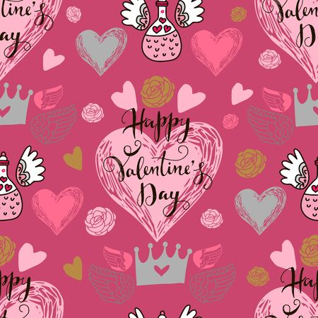 Happy Valentines Day beautiful  romantic seamless pattern with hearts, lettering and crown . Holiday  design, greeting cards, love creative concept, gift card, wedding invitation. Valentines Day  background. Vector illustration.