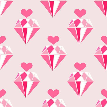 Happy Valentines Day beautiful  romantic seamless pattern with hearts, and diamonds . Holiday design, greeting cards, love creative concept, gift card, wedding invitation. Valentines Day  background. Vector illustration.