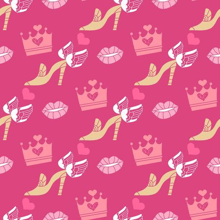 Happy Valentines Day beautiful  romantic seamless pattern with hearts, lips and crown. Holiday design, greeting card,  gift card, wedding invitation. Valentines Day background. Vector illustration.