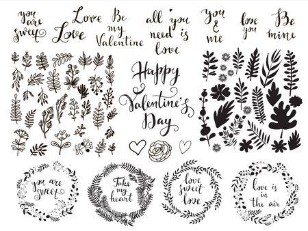 Happy Valentines Day big set  cute elements.  Holiday  design, greeting cards, love creative concept, gift card, wedding invitation. Valentines Day  background. Vector illustration. EPS 10 Ilustração