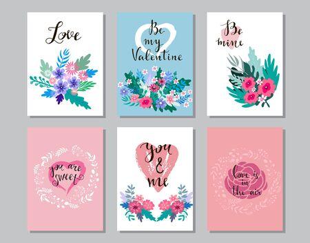 Happy Valentines Day set cards. Handdrawn romantic lettering. Holiday  design, greeting card, gift card, wedding invitation. Valentines Day  background. Vector illustration. Ilustração