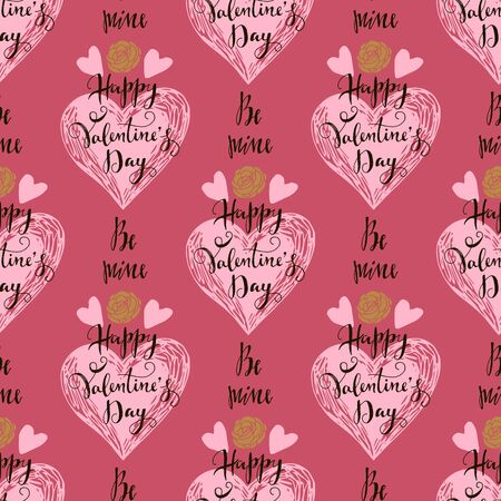 Happy Valentines Day beautiful  romantic seamless pattern with hearts, lettering and crown . Holiday design, greeting cards, love creative concept, wedding invitation. Valentines Day  background. Vector illustration Ilustração