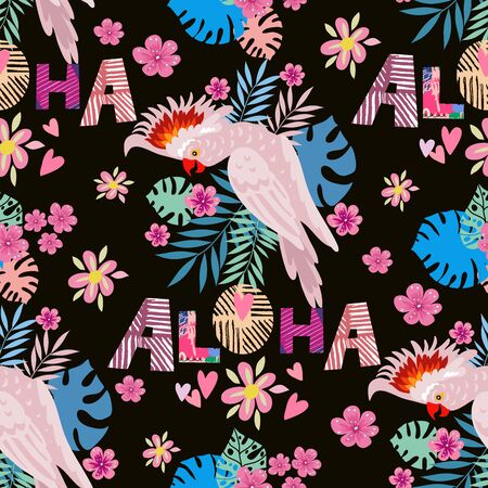 Beautiful colorful seamless pattern with parrot, macaw, jaco,  pink flamingo bird. Tropical flowers background.  Vector illustration.