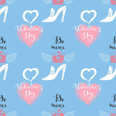 Happy Valentine's Day beautiful  romantic seamless pattern with hearts, lettering and crown . Holiday design, greeting cards, love creative concept, wedding invitation. Valentines Day  background. Vector illustration Imagens - 142962727