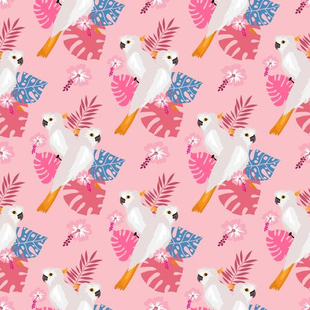 Seamless pattern with tropical parrots. Colorful exotic Birds, leaves, flowers, plants and branches art print for textile, fabric, covers, fashion.