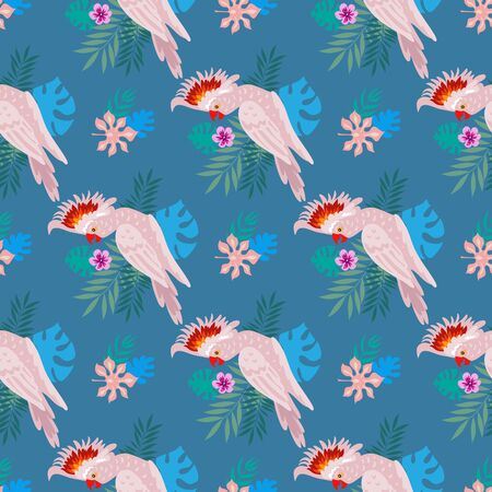 Seamless pattern with tropical parrots. Colorful exotic Birds, leaves, flowers, plants and branches art print for textile, fabric, covers, fashion.  EPS 10 Stock Illustratie