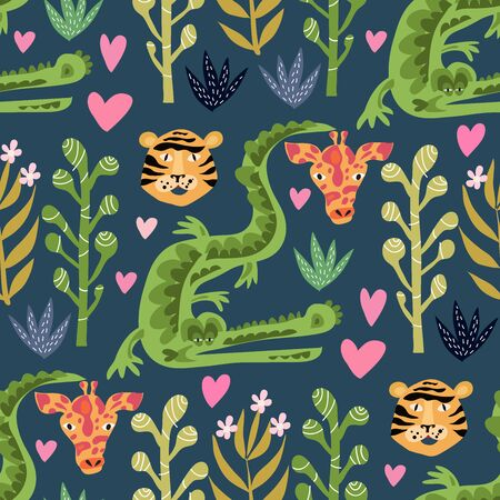 Seamless childish pattern with cute african animals. Use for textile, fabric, wallpaper, kids apparel, poster, wall art, surface design, fashion kids wear, baby shower. Vector doodle illustration for kids.