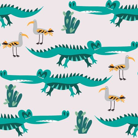 Seamless childish pattern with cute alligators. Use for textile, fabric, wallpaper,  poster,  surface design, fashion kids wear, baby shower. Vector doodle  illustration for kids.