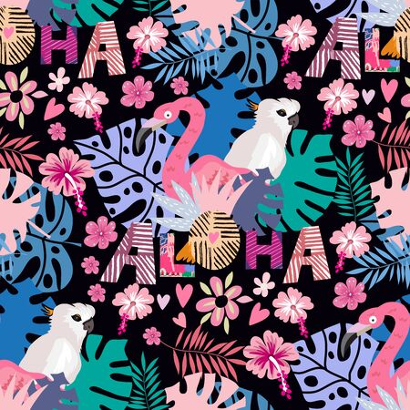 Beautiful colorful seamless pattern with parrot, macaw, jaco,  pink flamingo bird,  lettering and exotic flowers, leaves. Tropical flowers background.  Vector cute  summer illustration