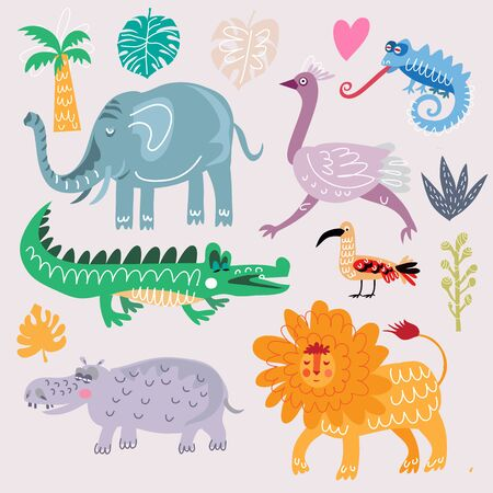 Beautiful big  set with tropical animals and plants, exotic  flowers. Cute  vector elements in flat cartoon style. For your design, posters, textile, wedding invitation, business products.  Vector illustration.