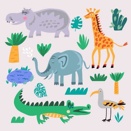 Beautiful big  set with tropical animals and plants, exotic  flowers. Illustration