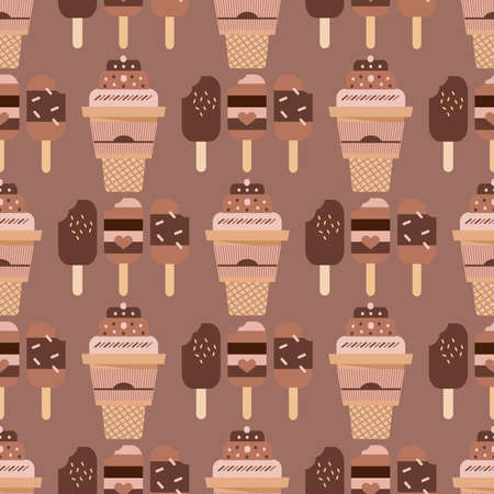 Seamless pattern with  ice cream,  waffle, sweet cupcakes, pies and tortes, chocolate ice cream and fruit muffins, desserts and pastry cakes.