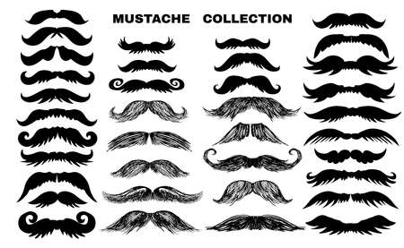 Funny  collection  with mustache. Father's day. Vettoriali