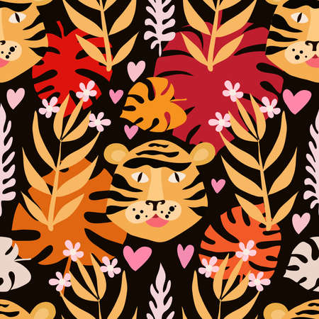 Seamless childish pattern with cute tiger. Use for textile, fabric, wallpaper,  kids apparel, wall art, poster,  surface design, fashion kids wear, baby shower. Vettoriali
