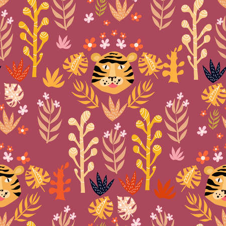 Seamless childish pattern with cute tiger. Use for textile, fabric, wallpaper,  kids apparel, wall art, poster,  fashion kids wear, baby shower.