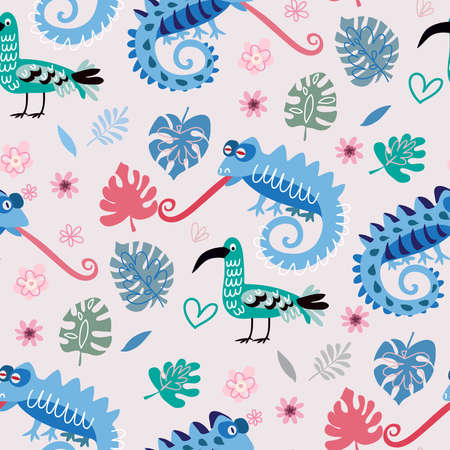 Seamless childish pattern with cute chameleons. Use for textile, fabric, wallpaper, kids apparel, poster, postcard, surface design, fashion kids wear, baby shower. Vector doodle illustration for kids. Vettoriali