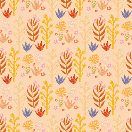 Beautiful cute seamless pattern with savanna flowers. Tropical flowers background. Cute vector elements in flat cartoon style. For your design, textile, fabric, posters, texture, wallpaper, kids. Vector illustration.