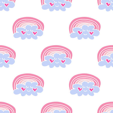 Seamless pattern with rainbow and clouds. Cute concept of flat design for children print., Textile, fabric, covers, baby shower, kids cards, banners and invitations. Hand drawn vector illustration.