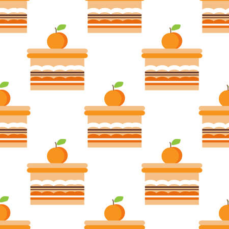 Seamless pattern with sweet cupcakes, pies and tortes, chocolate ice cream and fruit muffins, desserts and pastry cakes. Vector illustration in flat cartoon style.