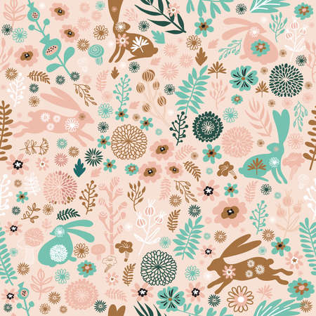 Beautiful seamless pattern with rabbit, easter bunny and meadow spring flowers, leaves. Cute baby spring background, textile design in flat cartoon style Vector illustration
