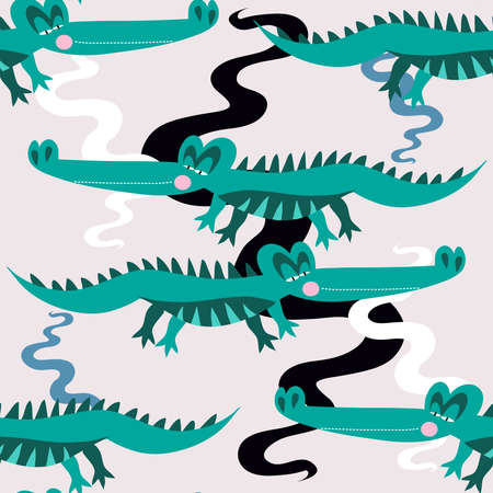 Seamless childish pattern with cute alligators. Use for textile, fabric, wallpaper, kids apparel, poster, surface design, fashion kids wear, baby shower. Vector doodle illustration for kids.