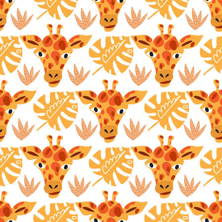 Cute seamless pattern with giraffe in cartoon style. Floral savanna, jungle background, Kids illustration for design prints, textile, fabric, wallpapers. Vector illustration. Vettoriali