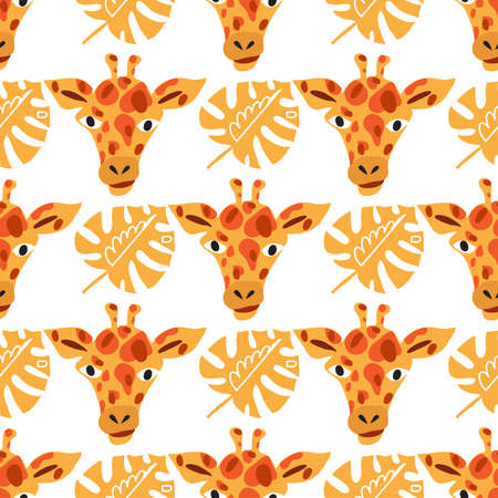 Cute seamless pattern with giraffe in cartoon style. Floral savanna, jungle background, Kids illustration for design prints, textile, fabric, wallpapers. Vector illustration. Vectores