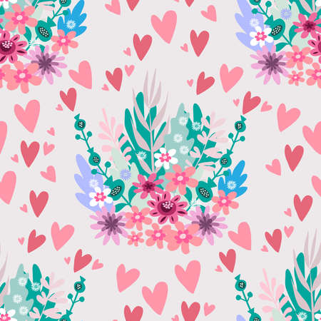 Beautiful flower seamless pattern with hearts and delicate art bouquets. Meadow millefleurs. Floral background for textile, fabric, wallpaper, pattern fills, covers, surface, print, wrap, scrapbooking