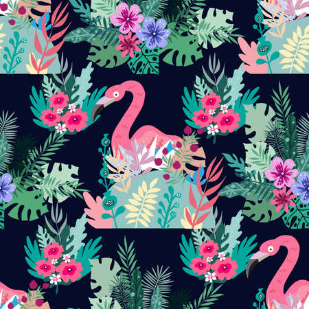 Beautiful colorful seamless pattern with cute pink flamingo bird and exotic flowers, leaves. Tropical flowers background. Vector cute summer illustration. Vettoriali