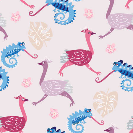 Seamless childish pattern with cute ostrich in cartoon style. Use for textile, wallpaper, fabric, t shirt template, kids apparel, poster, postcard, surface design, fashion kids wear, baby shower. Vector doodle illustration for kids. Vettoriali