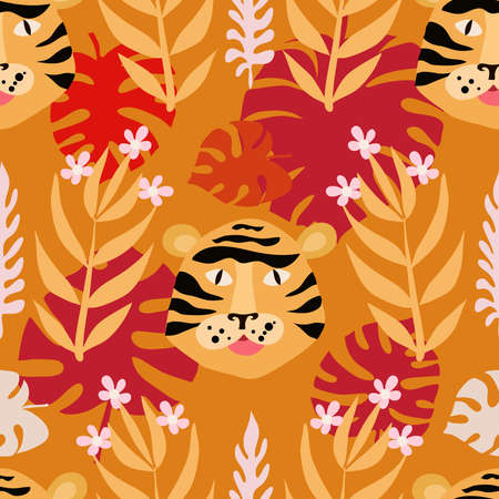 Seamless childish pattern with cute tiger. Use for textile, fabric, wallpaper, kids apparel, wall art, poster, surface design, fashion kids wear, baby shower. Vector doodle illustration for kids.