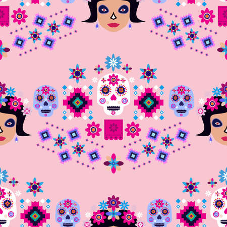 Mexican seamless pattern, sugar skulls and flowers Template for mexican celebration, traditional mexico skeleton decoration.