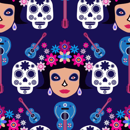 Mexican seamless pattern, sugar skulls and flowers Template for mexican celebration, traditional mexico skeleton decoration