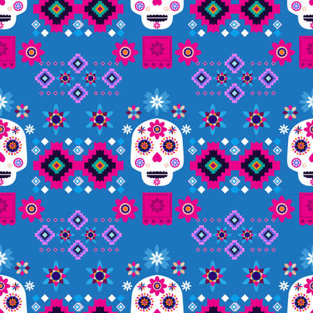 Mexican seamless pattern, sugar skulls and flowers Template for mexican celebration, traditional mexico skeleton decoration. Dia de Los Muertos, Day of the Dead Halloween Vector illustration Vettoriali