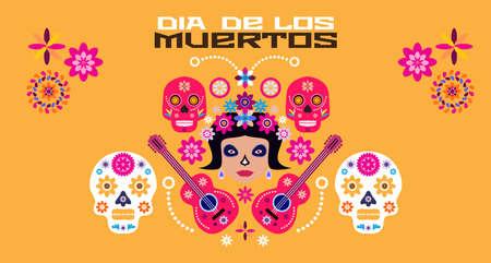 Dia de Los Muertos, Day of the Dead or Halloween greeting card, banner, invitation. Sugar tatoo skulls, candle, maracas, guitar, sombrero and marigold flowers, Catrina Calavera traditional mexico skeleton decoration Vector illustration.
