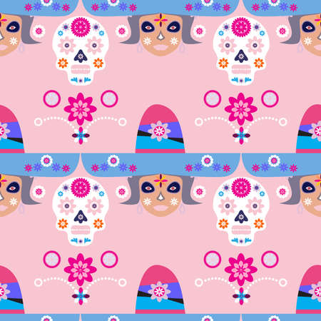 Mexican seamless pattern, Catrina Calavera sugar skulls and marigold flowers. Template for mexican celebration, traditional mexico skeleton decoration. Dia de Los Muertos, Day of the Dead Halloween Vector illustration